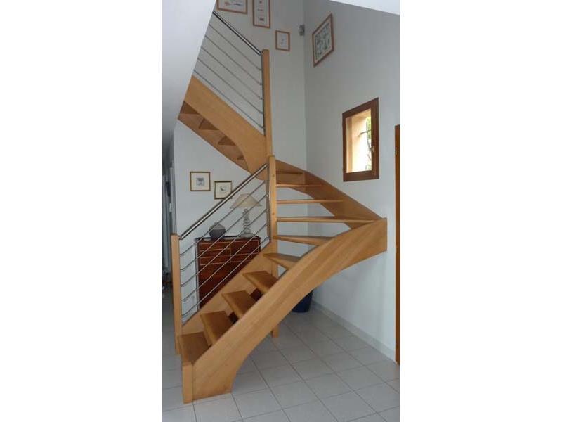 inox design garde corps escalier bois