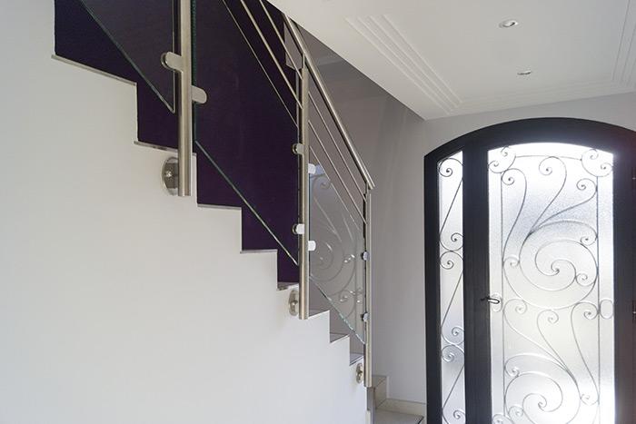 garde-corps escalier inox et verre